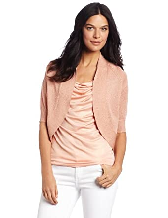 Calvin Klein Women's Circle Shrug Sweater, Rose Gold,X-Small