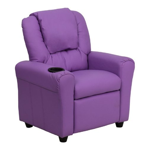 Personalized Lavender Vinyl Kids Recliner with Cup Holder and Headrest DG-ULT-KID-LAV-EMB-GG