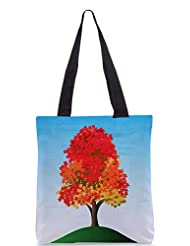 Snoogg Colorful Tree Designer Poly Canvas Tote Bag