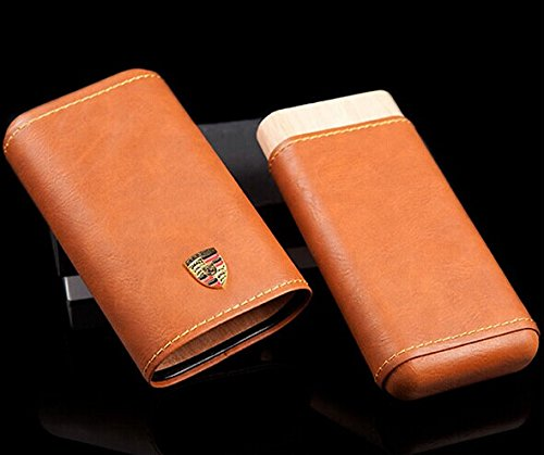 Brown Leather Cedar Wood Porsche Design 3 Tube Cigar Case Travel Holder New in Gift Box