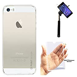 DMG PHNT Premium Scratch-Resistant Ultra Thin Clear TPU Skin Case for Apple iPhone 5/5S (Clear) + Selfie Stick Monopod with Aux (No Battery Needed)