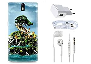 Spygen One Plus One Case Combo of Premium Quality Designer Printed 3D Lightweight Slim Matte Finish Hard Case Back Cover + Charger Adapter + High Speed Data Cable + Premium Quality Handfree