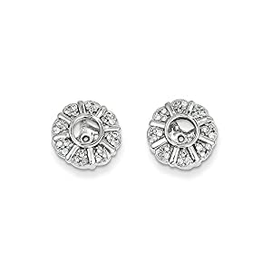 Christmas Sale -14K White Gold Diamond Round Earring Jacket - Excellent Gift