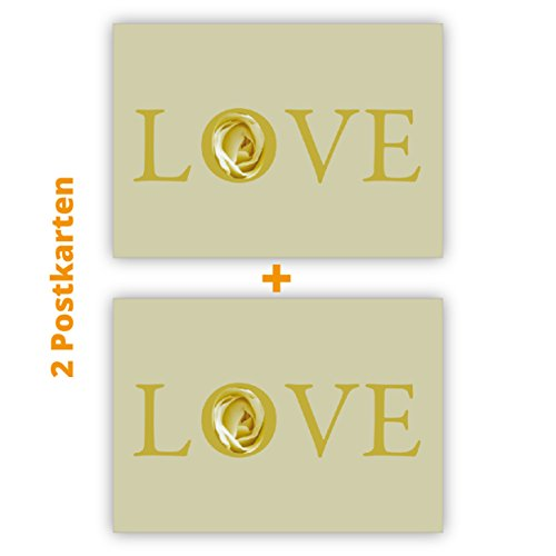 2 romantische Liebes Postkarten (Postkarten-Set): Love Postkarten (Postkarten-Set)-Set in beige