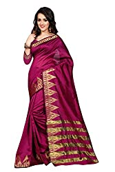Fabcart Majenta Cotton Saree with Blouse Piece