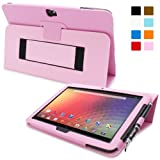 Snugg Nexus 10 Leather Case - Flip Stand Cover with Elastic Strap and Premium Nubuck Fibre Interior - Automatically Wakes and Puts the Google Nexus 10 to Sleep (Pink)