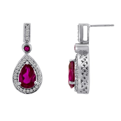 Sterling Silver Created Ruby and Created White Sapphire Drop Earrings