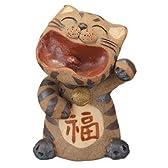 福笑いねこ信楽焼陶器置物猫