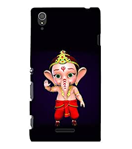 printtech Lord Ganesha Cartoon Back Case Cover for Sony Xperia T3