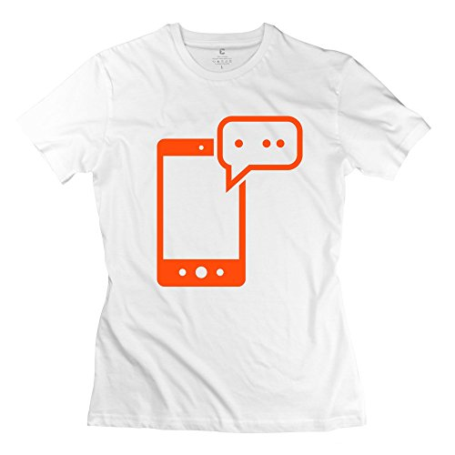 100% Cotton Couple Mobile T-Shirt For Women - Round Neck front-872205