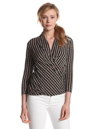 Vince Camuto Women's 3/4 Sleeve Arch Stripes Wrap Top, Rich Black, Medium