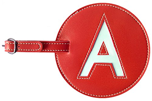 Luggage Tag Initial pb Travel RED A (Luggage Tags Personalized Leather compare prices)