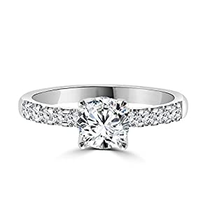 0.90 CT White Gold Engagement Ring Round Cut Natural Diamond with Sidestones H-I/I1-I2 14K - IGI Certified