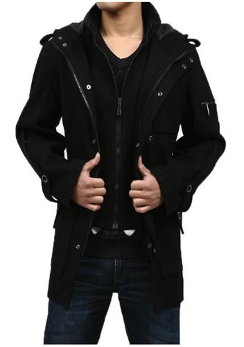GST Woolen Coat Hooded Winter Trench Coat Men XL Black