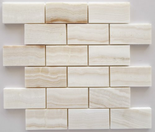 2x4 White Onyx Polished Mosaic Tiles on the Mesh Sheet