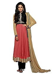 Dlines Red Coloured Georgette Embroidery Salwar Suit