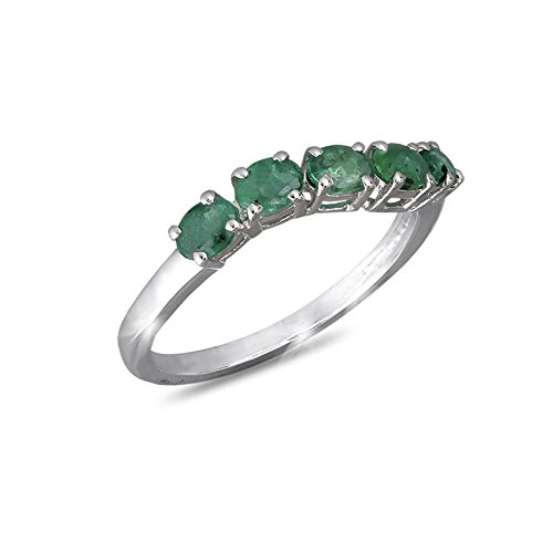 adens - 925-1000ème 5 Emerald Gemstone Ring, Silver Ring, Rhodium Plated