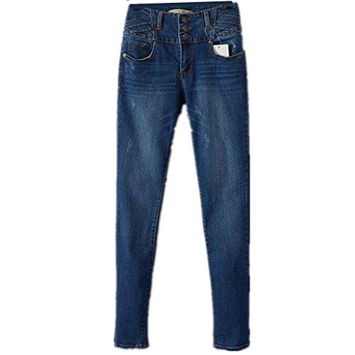 ZYQYJGF Jeans Slim Pulsante Lungo Denim Blu Casual Pantaloni Tasca Classic Premium Donna Rilassato Diritto-Piedino Potere Tutte Curve Di Media Altezza Vestibilitá Fit . 40