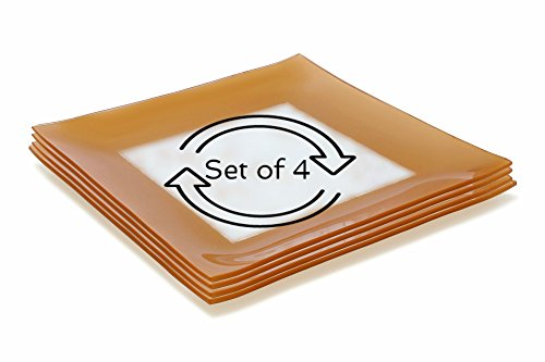 GAC Set of 4 Large Tempered Glass Dinner Plates Break and Chip Resistant - Microwave Safe - Oven Proof - Dishwasher Safe -Charger Plate, Decorative Plate Gold (Glass Dinner Tray compare prices)