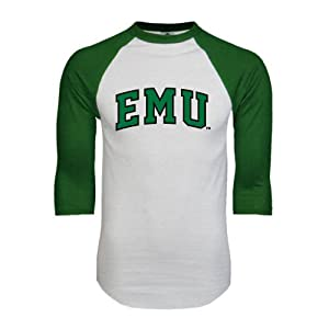 Eastern Michigan White/Dark Green Raglan Baseball T Shirt 'Arched EMU' - XL
