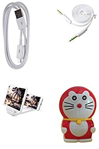 GLIM Combo Of 1 Meter V8 White & AUX CABLE & 3D Screen & doremon charger