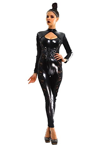 L04BABY Sexy Black Gothic Fetish Catsuit Bdsm Lace Trimmed