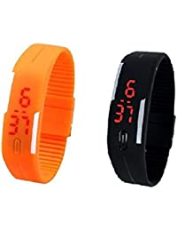 RTimes Black And Orange Unisex Multicolor Set Of 2 Digital Rubber Jelly Slim Silicone Sports Led Smart Band Watch...