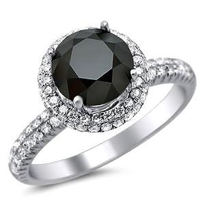 2.15ct Black Round Diamond Engagement Ring 18k White Gold