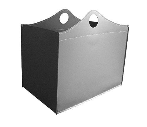 WOODBAG: borsa in cuoio portalegna e/o pellet, in cuoio rigenerato colore Grigio Antracite, con ruote gommate.