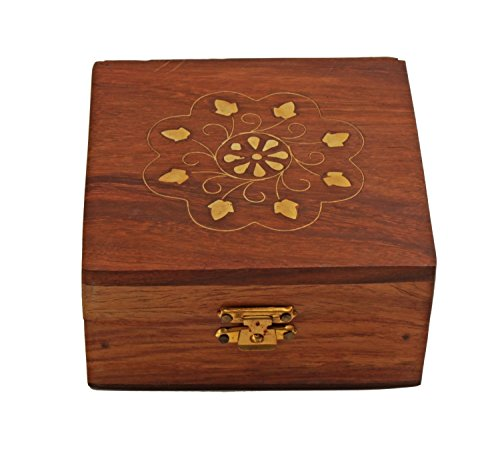 Christmas Thanksgiving Gifts Decorative Wooden Jewelry Trinket Ring Box Small Keepsake Storage Organizer with Brass Inlay & Velvet Interior