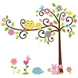 "The Owl Scroll Squirrel Tree Peel and Stick Vinyl Removable Decorative Wall Stickers Decor Decal for Nursery Baby and Kids Room (43""×47"")"