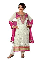 Porwal Bros Women's Dress Material (RV-9202_White_Free Size)