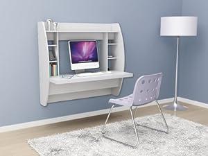 Prepac White Floating Desk with Storage