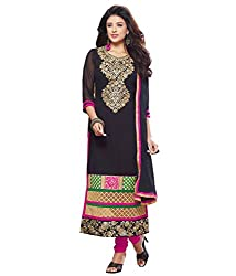 Monalisa Fabrics Women's Unstitched Dress Material (2254114_Black _Free Size)