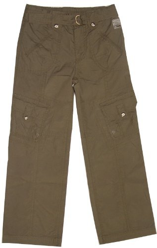 Girls cargo pants with pockets and belt, olive