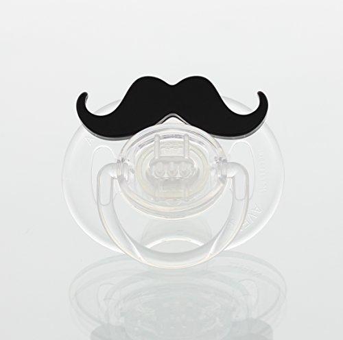 Black Handlebar Mustache Symmetric Pacifier (PMHB) (0-6 Months)