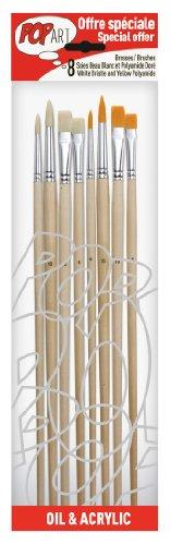 pebeo-950350-astuccio-8-pennelli-manici-lunghi-assortiti-4-setola-bianca-4-poliammide-dorato-tondo-n