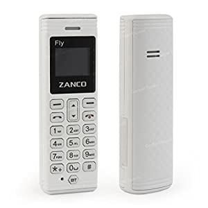 Zanco The Fly White Worlds Smallest Mobile Phone with Voice Changer Built in Bluetooth BT Dialer and Music Plastic Phone Unclocked SIM Free - Novelty Gift Idea