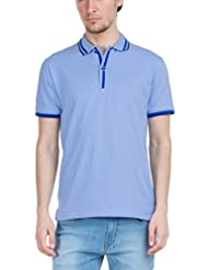 Zovi Men's Cotton Aviator Blue Solid Polo T-shirt With Contrast Stripe Collar (10354201201)