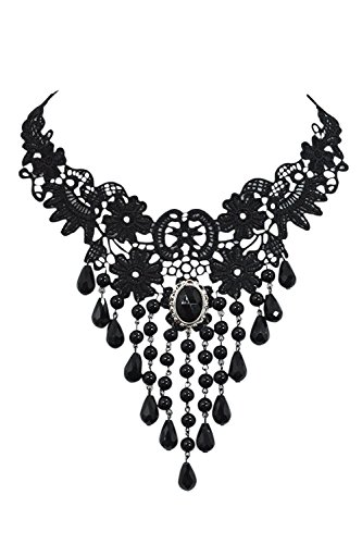 [Gothic Victorian Bridal Wedding Lace Fringe Beaded Statement Necklace (Black)] (Gothic China Doll Costume)