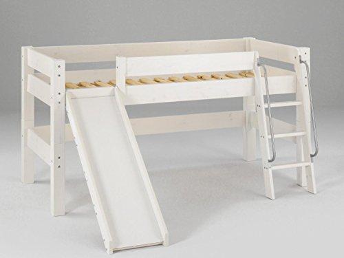 halbhohes moby kinderbett mit rutsche und leiter kiefer massiv farbton wei. Black Bedroom Furniture Sets. Home Design Ideas