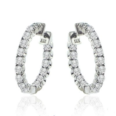 1.70 Ct. TW Round Diamond Inside/Outside Hoop Huggie Earrings in 14 kt White Gold