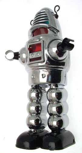 Collectors chrome finish tin clockwork walking robot with sparking visor
