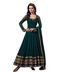 Samay Creation Green Georgette Embroidered Semi-stitched Anarkali Dress Material