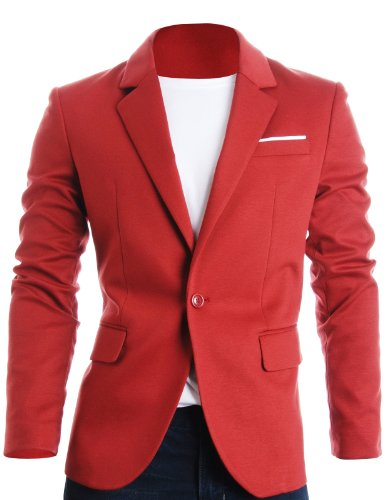 FLATSEVEN Mens Slim Fit Casual Premium Blazer Jacket Red, L (Chest 42)