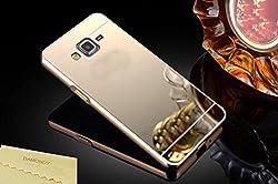 MACC Luxury Aluminium Bumper With Mirror Acrylic Back Cover For Samsung Galaxy J2 SM-J200F - YELLOWGOLD