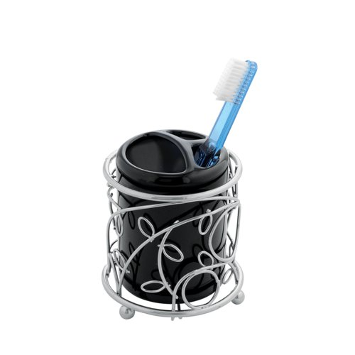 InterDesign Twigz Toothbrush Holder, Silver/Black