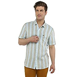 Attila Men's Casual Shirt (33062155S0_Blue Brown_38)