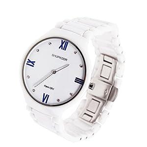 Shupkoor Men's Diamond Ceramic Quartz Waterproof Watch Blue