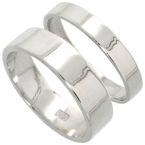 Sterling Silver Flat Wedding Band Ring Set His and Hers 4 mm + 6 mm , size 4